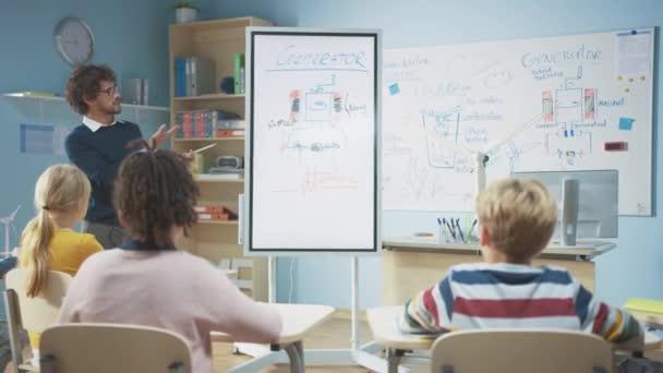 Általános Iskola Fizika Tanár Használja Interaktív Digitális Whiteboard, hogy megmutassa, hogy egy osztályteremben tele intelligens diverzifikált gyermekek, hogyan működik a megújuló energia. Tudomány óra gyerekekkel Hallgatás