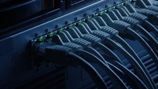 Makroaufnahme: Ethernet-Datenkabel, die mit blinkenden Lichtern an Router-Ports angeschlossen werden. Telekommunikation: RJ45-Internetanschlüsse, die in Modem LAN Switches gesteckt werden. Sicheres Arbeiten im Rechenzentrum