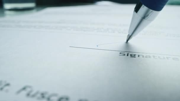 Person Signing Important Document. Camera Following Tip of Pen as it Signs Crucial Business Contract. Mock-up Lorem Ipsum Signature Made on Template Document. Mock-up Signature Macro Close-up Shot