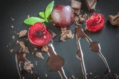 milk chocolate with cherries and mint