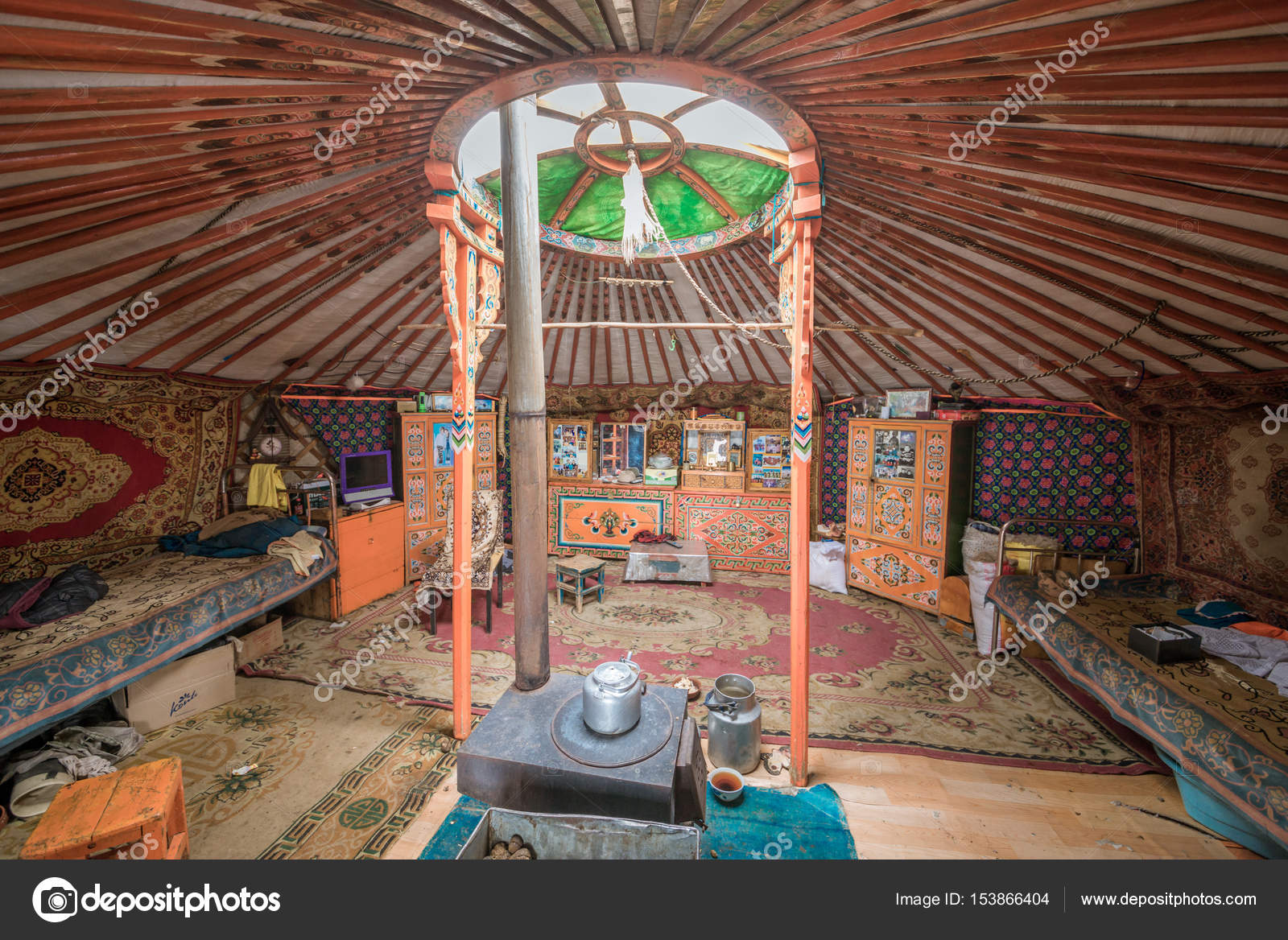 Tradition Mongolian Yurt Interior U2014 Stock Photo