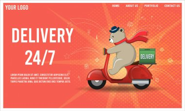Express delivery by Bear ridding scooter with parcel box. Online delivery service concept. vector illustration.