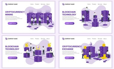 Set of web page design templates for block chain and Cryptocurrency concept. Can use for web banner, poster, infographics, landing page, web template. Flat vector illustration
