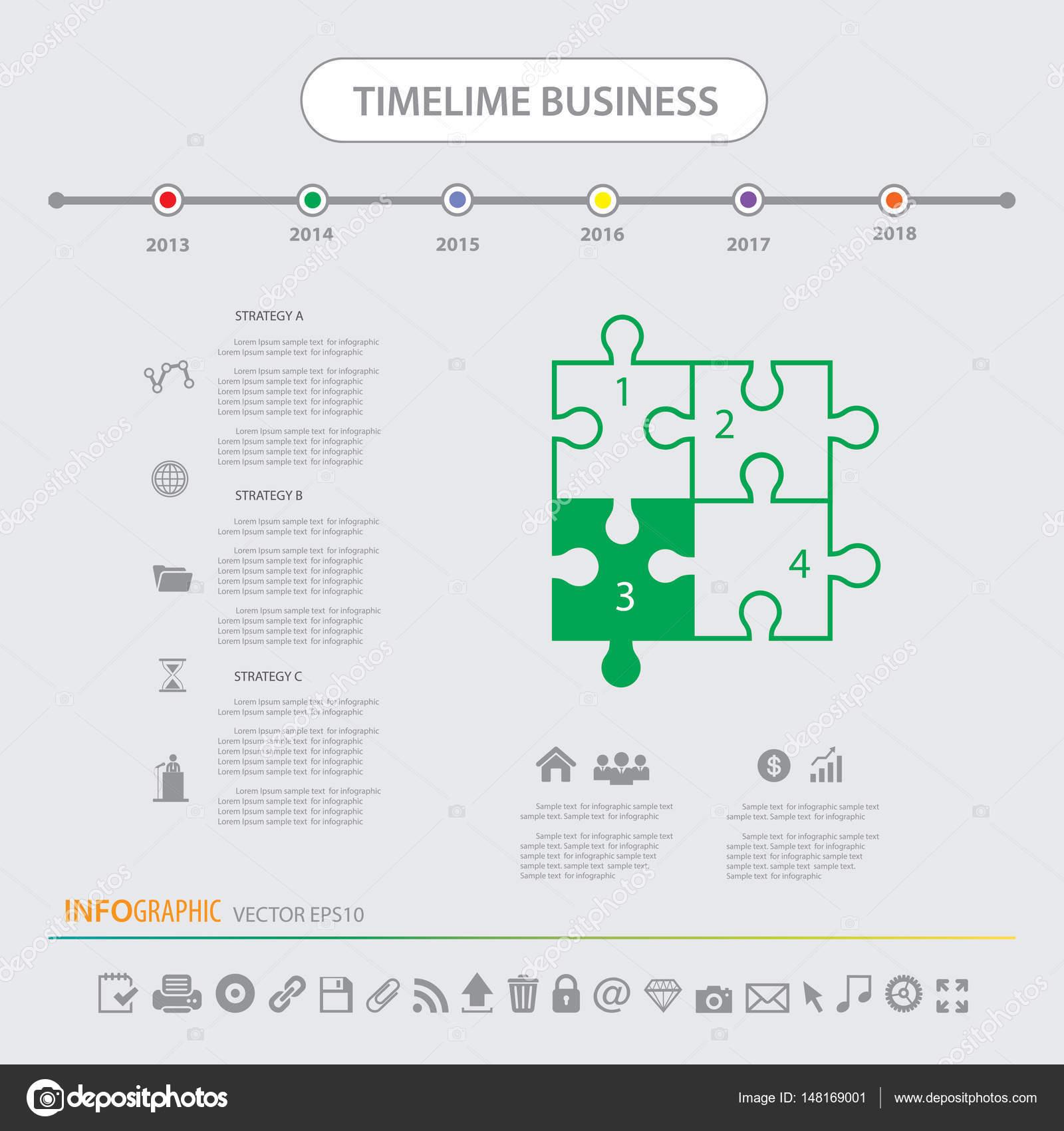 Zeitachse Infografiken Vorlagensatz Symbole — Stockvektor ...