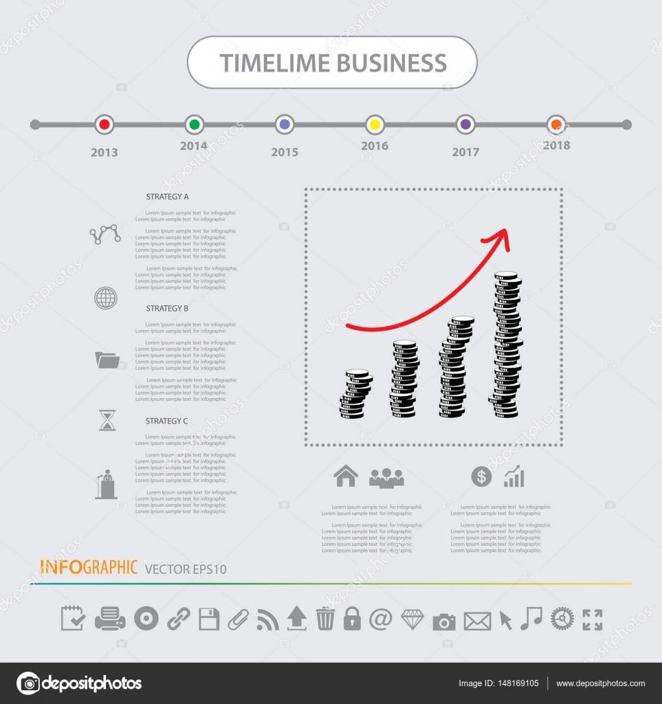 Conjunto de iconos de plantillas de cronología infografía — Vector ...