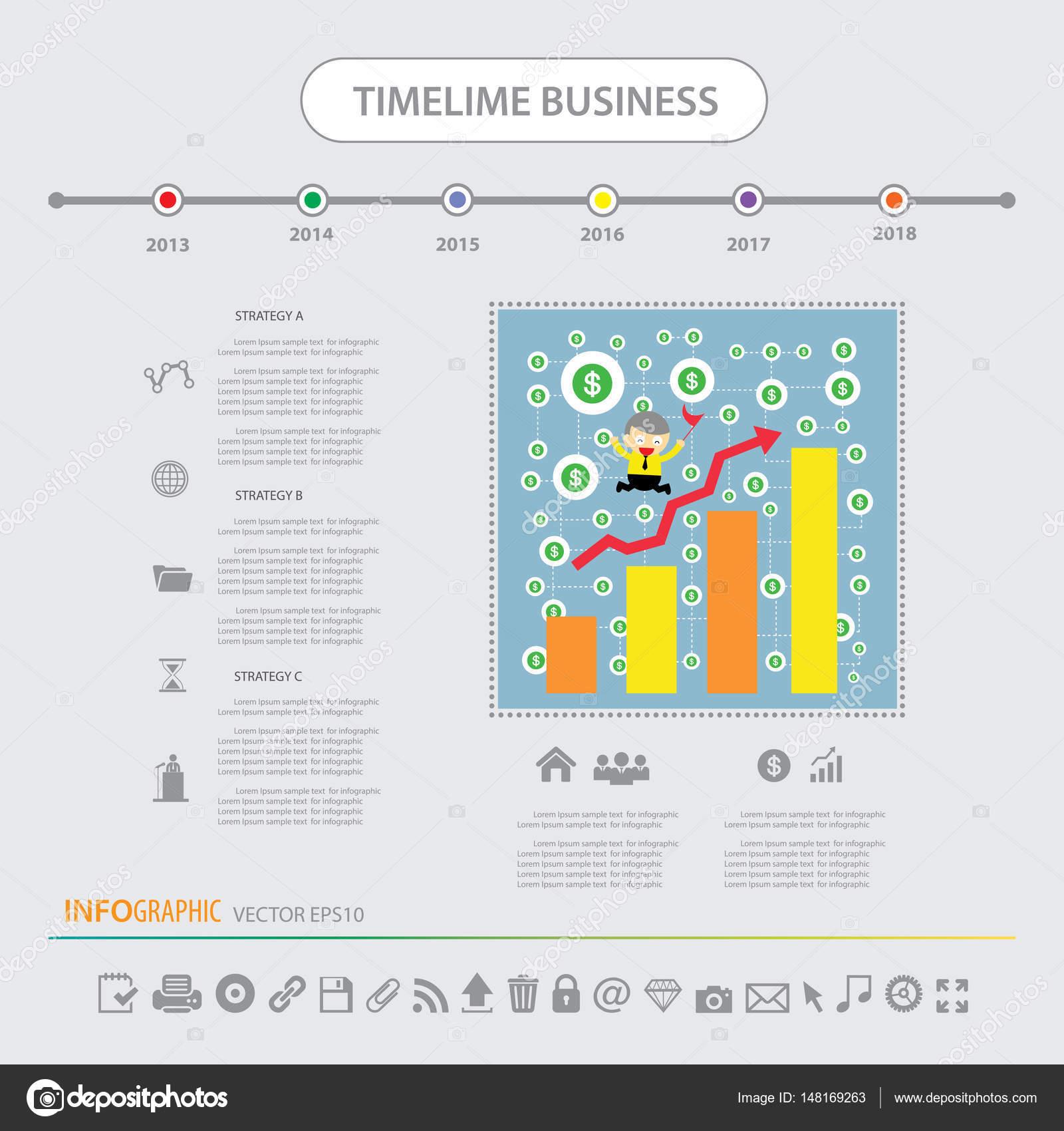 タイムライン インフォ グラフィック テンプレート アイコンを設定