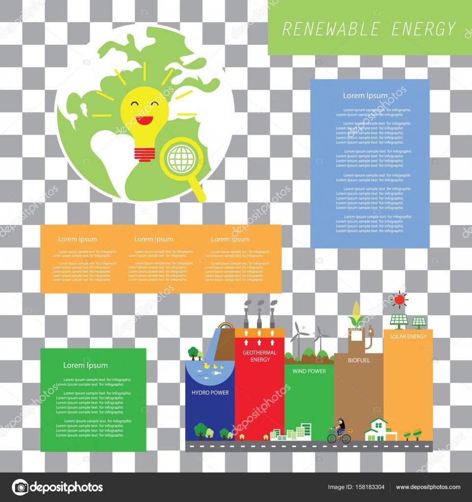 Info-Diagramm der erneuerbaren Energien — Stockvektor © tackgalich ...