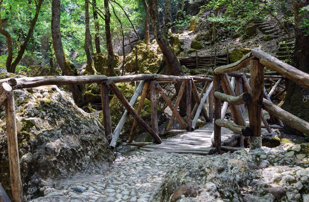 Фотообои Wooden bridge in dark forest of Butterfly valley on Rhodes island, Greece