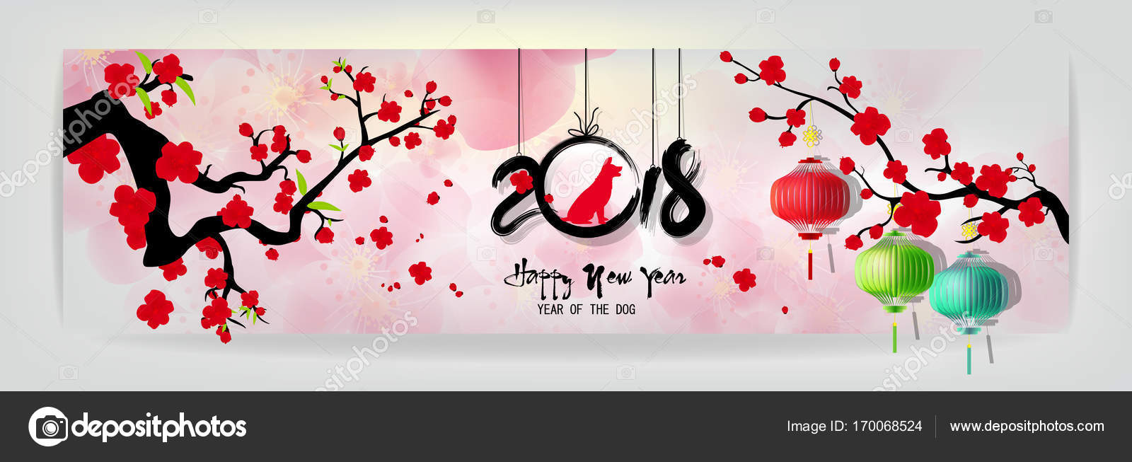 happy new year 2018 greeting card and chinese new year of the dog cherry blossom background vector by kimminthien