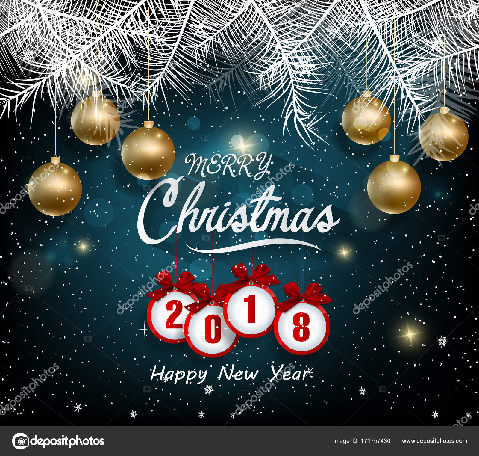 happy new year 2018 greeting card and new year of