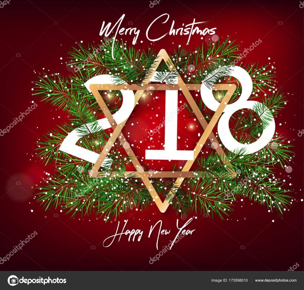 Cartolina Dauguri Di Buon Anno 2018 E Buon Natale Vettoriali