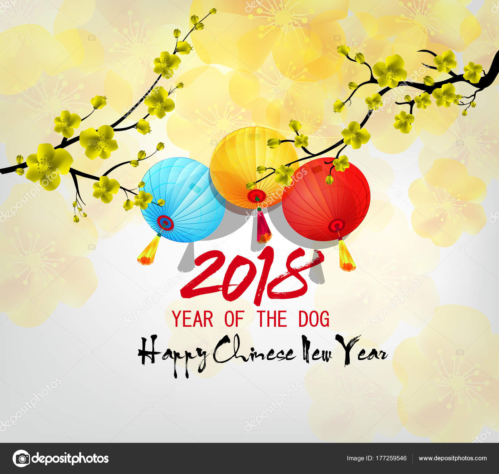 happy new year 2018 greeting card chinese new year dog stock vector
