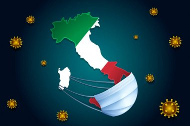 Coronavirus or Corona virus concept. Italy in a medical mask protects itself from nCoV