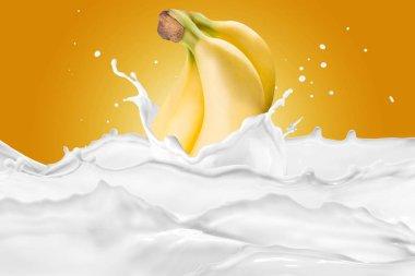 Bananas bunch splashing into milk