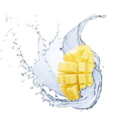 Sliced mango splashing into water