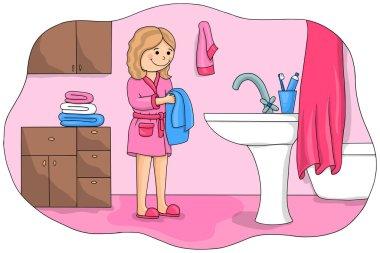 Girl washing her face after sleep. Children vector illustration