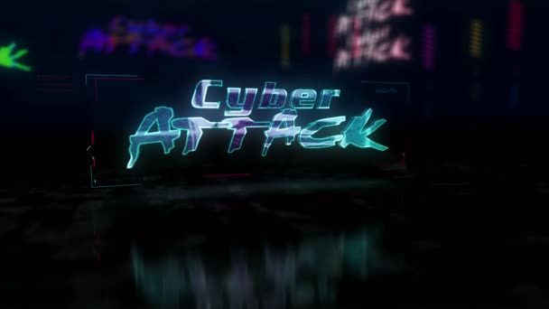 Cyber attack futuristic cyberpunk style animation. Abstract modern cyber city 3d rendering with glitch effect. Modern design cyberspace intro of cybernetic crime, ddos, phishing and malware.