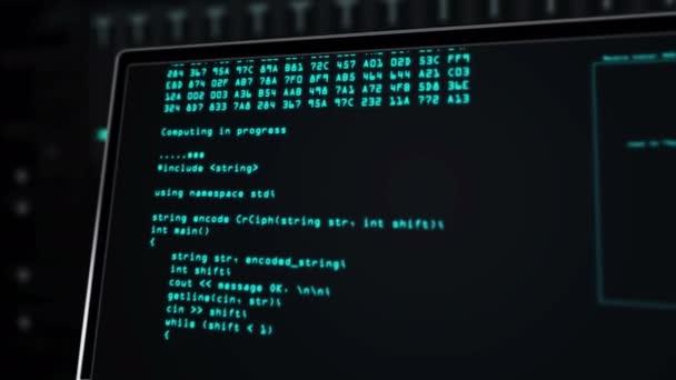 Rack-Server und Superrechenzentrum modernes Konzept 3D-Rendering-Animation. Kameraflug vom Code auf dem Bildschirm in den weiten Blick des Datenrechnerraums. Futuristische digitale Datenbank und Informations-Host.
