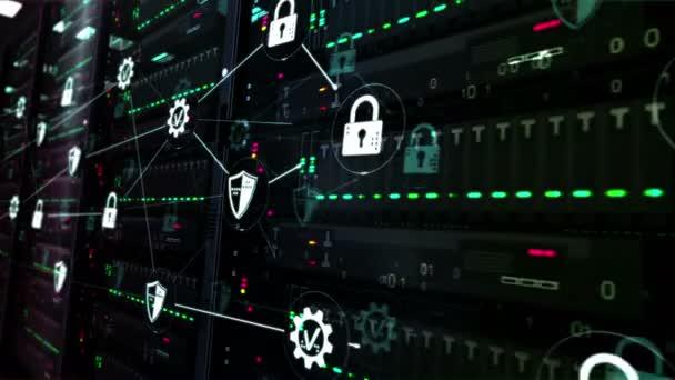 Futurisztikus adatközpont kibervédelemmel, digitális védelemmel és számítógépes biztonsági szimbólumokkal. Modern szerverek szoba digitális zökkenőmentes hurok 3d renderelés koncepció animáció.