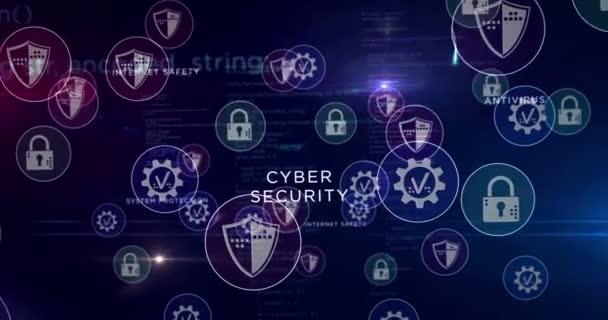 Kyberkriminalita, útok, bezpečnostní poplach, krádež, virus a počítačová ochrana symboly 3D vykreslování abstraktní koncepce animace. Cyber ikony smyčka bezešvé futuristické digitální pozadí.