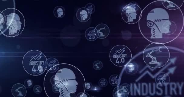 Industrie 4.0, Innovation, Cyber-Technologie, Wirtschaft, Automatisierung, Symbole künstlicher Intelligenz 3D-Rendering abstrakte Konzeptanimation. Cyber-Ikonen loopable nahtlose futuristische digitale Hintergrund.