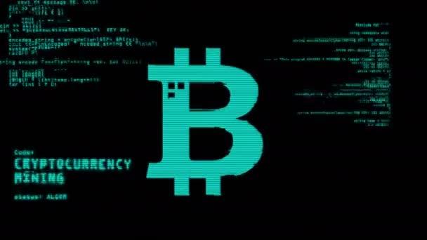 Bildschirm mit Bitcoin, Cyber-Banking, Geld, Kryptowährungs-Mining, Blockchain-Technologie-Symbole 3D-Rendering abstrakte Konzeptanimation. Symbolhintergrund mit Störungen und Geräuschen.