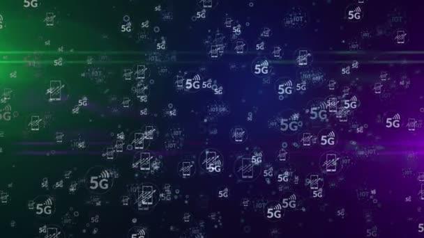 5G, iot, mobilní mobilní komunikace, internet věcí a digitální bezdrátové sítě symboly bezproblémové a smyčkové digitální pozadí. Animace konceptu abstraktních bublin 3D vykreslování.