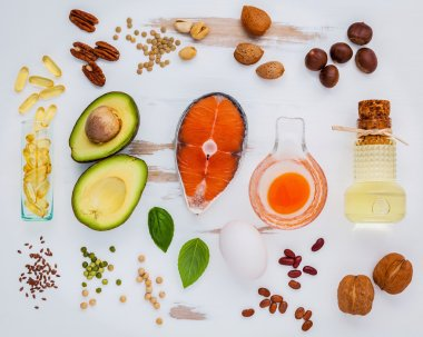 Selection food sources of omega 3 . Super food high omega 3 and