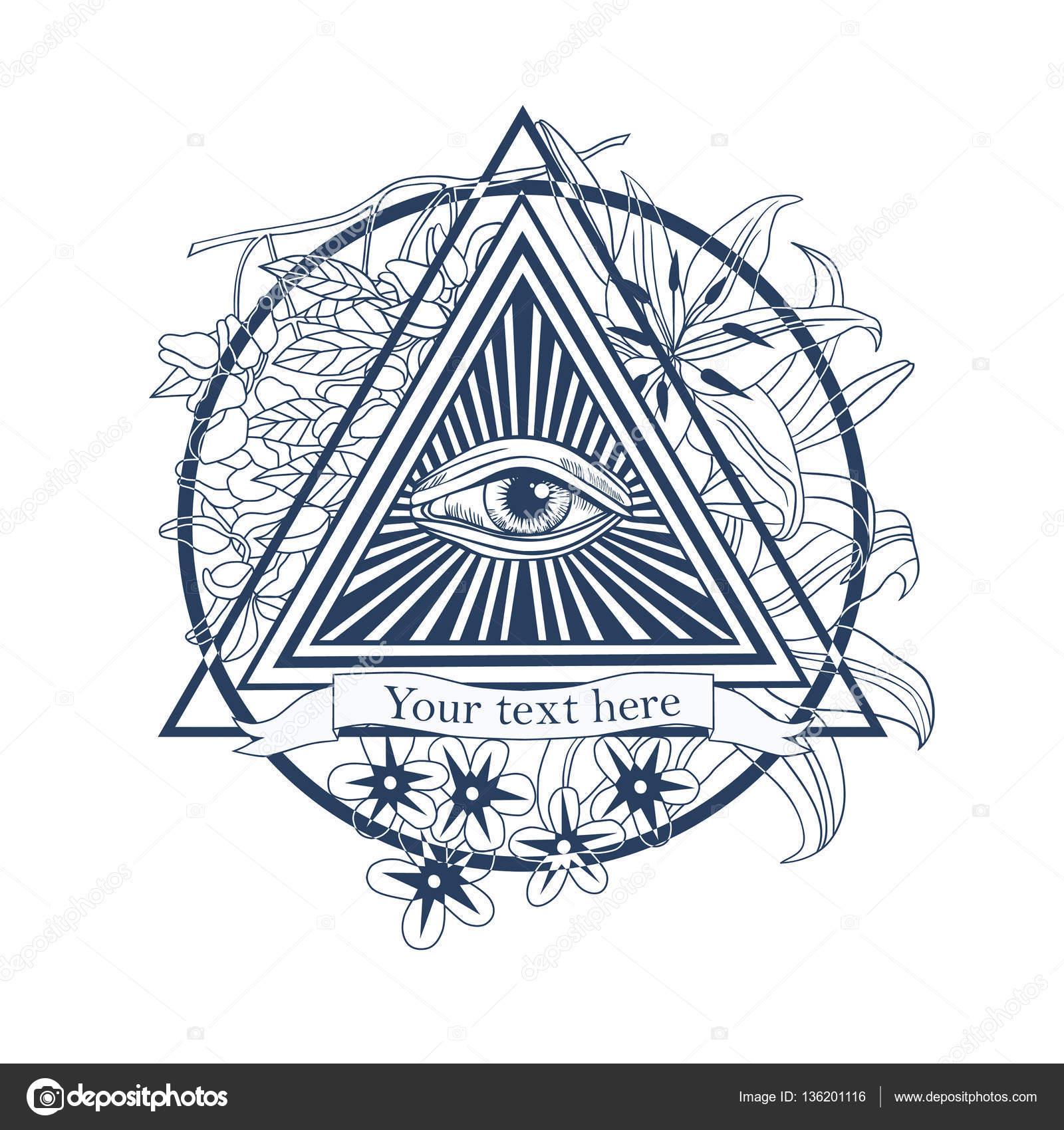 All Seeing Eye Illustration Tatoo Masonic Symbol Stock Vector