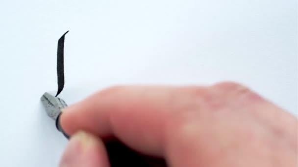 Freiheit, handgeschriebenes Wort. Männliche Hände schreiben mit einem Stift. Kalligraphie Nahaufnahme.
