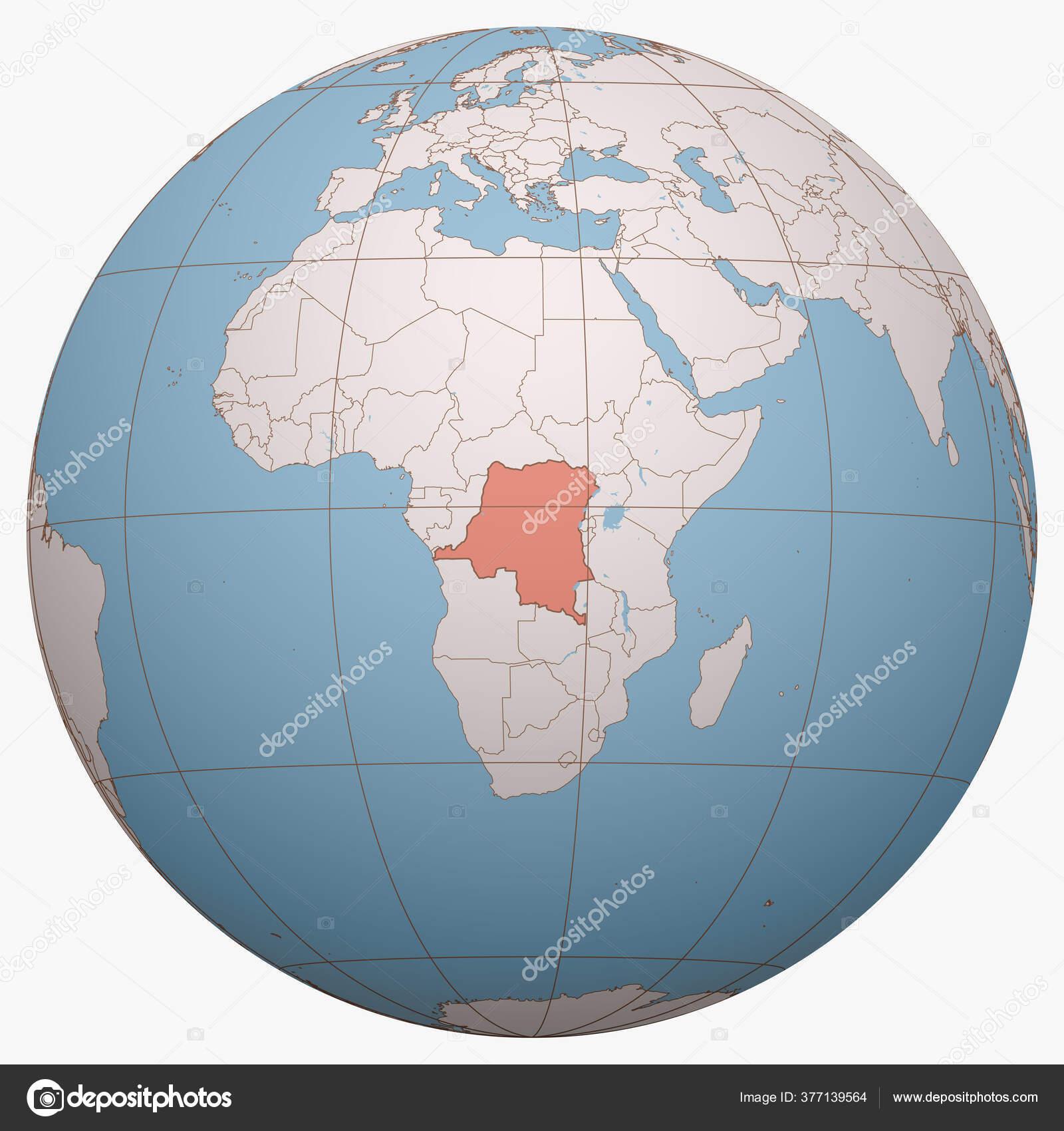 Picture of: Congo Globe Earth Hemisphere Centered Location Democratic Republic Congo Drc Stock Vector C Antonshahrai 377139564