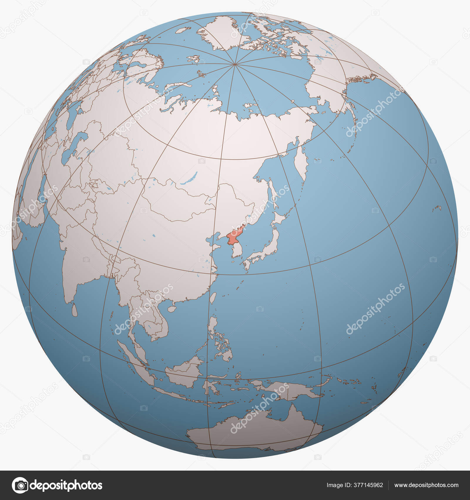 Picture of: North Korea Globe Earth Hemisphere Centered Location Democratic People Republic Stock Vector C Antonshahrai 377145962