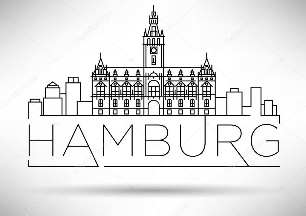 Hamburger City Lineare Wahrzeichen Stockvektor C Kursatunsal