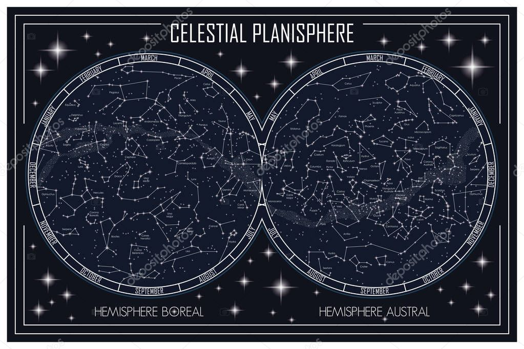 map of celestial planisphere