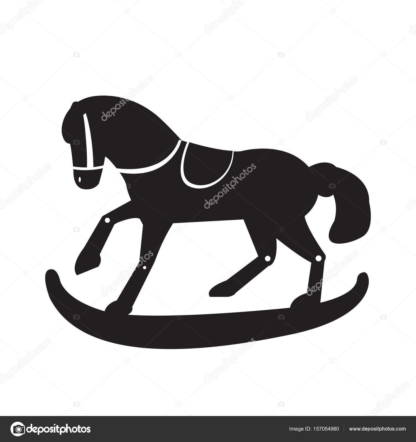 Cavallo Di Legno Giocattolo.Sagoma Di Cavallo Di Legno Del Giocattolo Vettoriali Stock