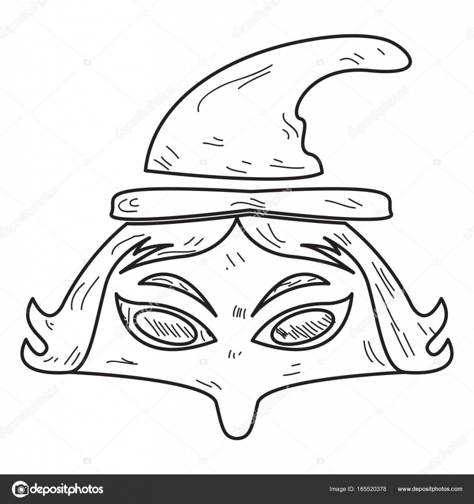 Isolated Vintage Witch Mask On A White Background Vector Illustration By JoKalar01