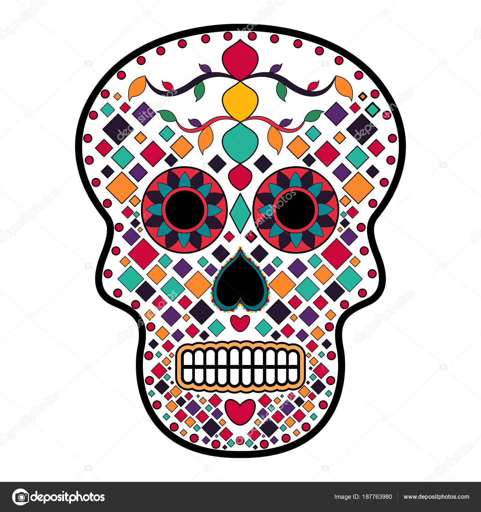 Cara De Calavera Decorada Cráneo De Cabeza Floral Ornamente Día