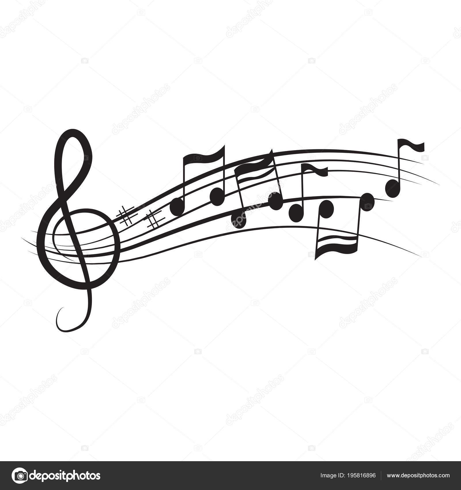 Conjunto De Notas Musicales En Un Pentagrama Archivo Imágenes