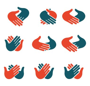 Isolated abstract clapping hands logo set. Give five logotype collection. Shaking hands sign. Greeting symbol. Positive friendly congratulating gesture icon. Teamwork element. Vector illustration.