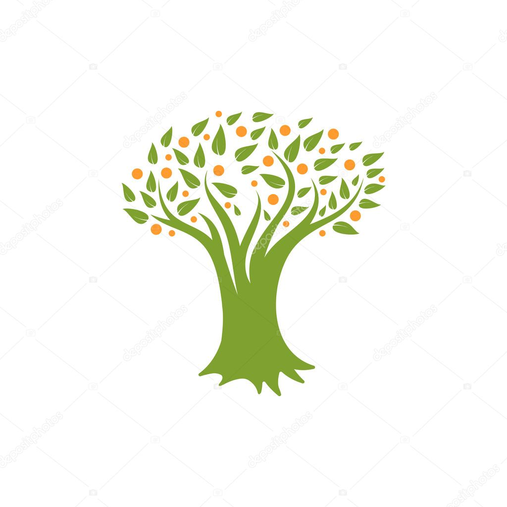 Isolated abstract green, orange color tree logo. Natural element ...