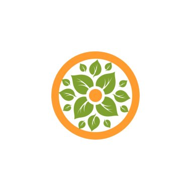 Isolated abstract round shape natural logo. Green leaves in orange circle logotype. Flower icon. Eco products sign. Organic symbol. Healing herbs emblem. Vector natural illustration. Spring element.