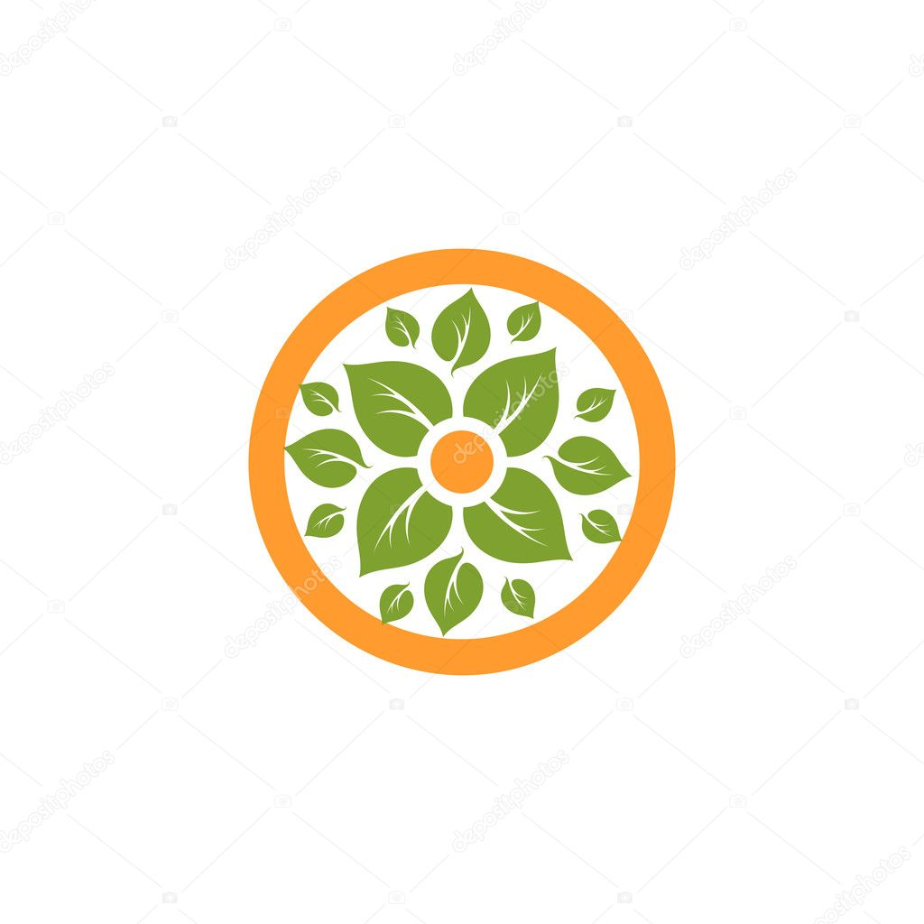 Logo With Green Leaf In Orange Circle | Theleaf.co