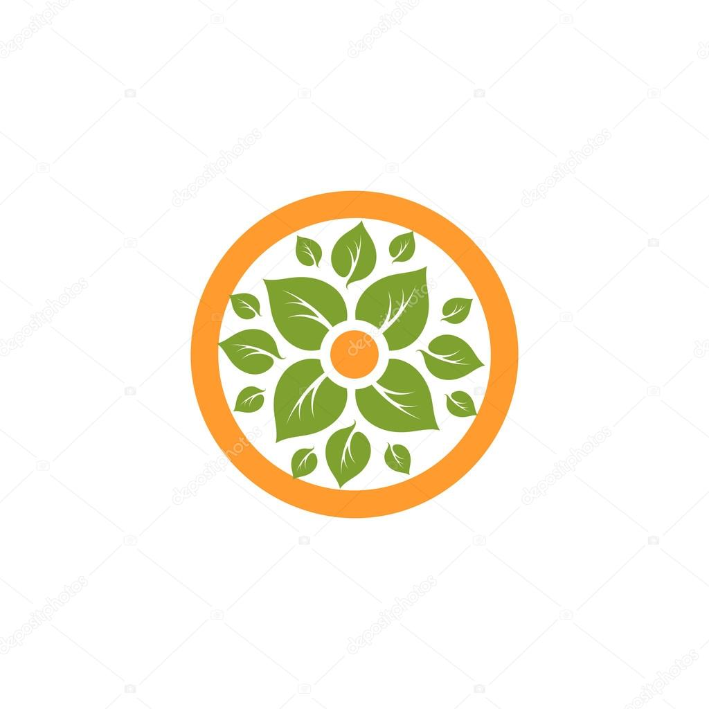 logo with green leaf in orange circle theleafco