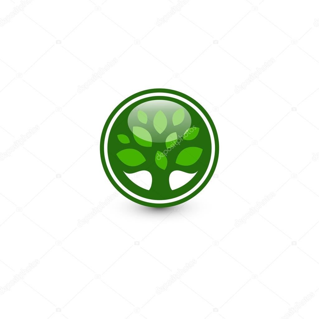 Isolated abstract green color round shape tree logo. Leaf logotype ...