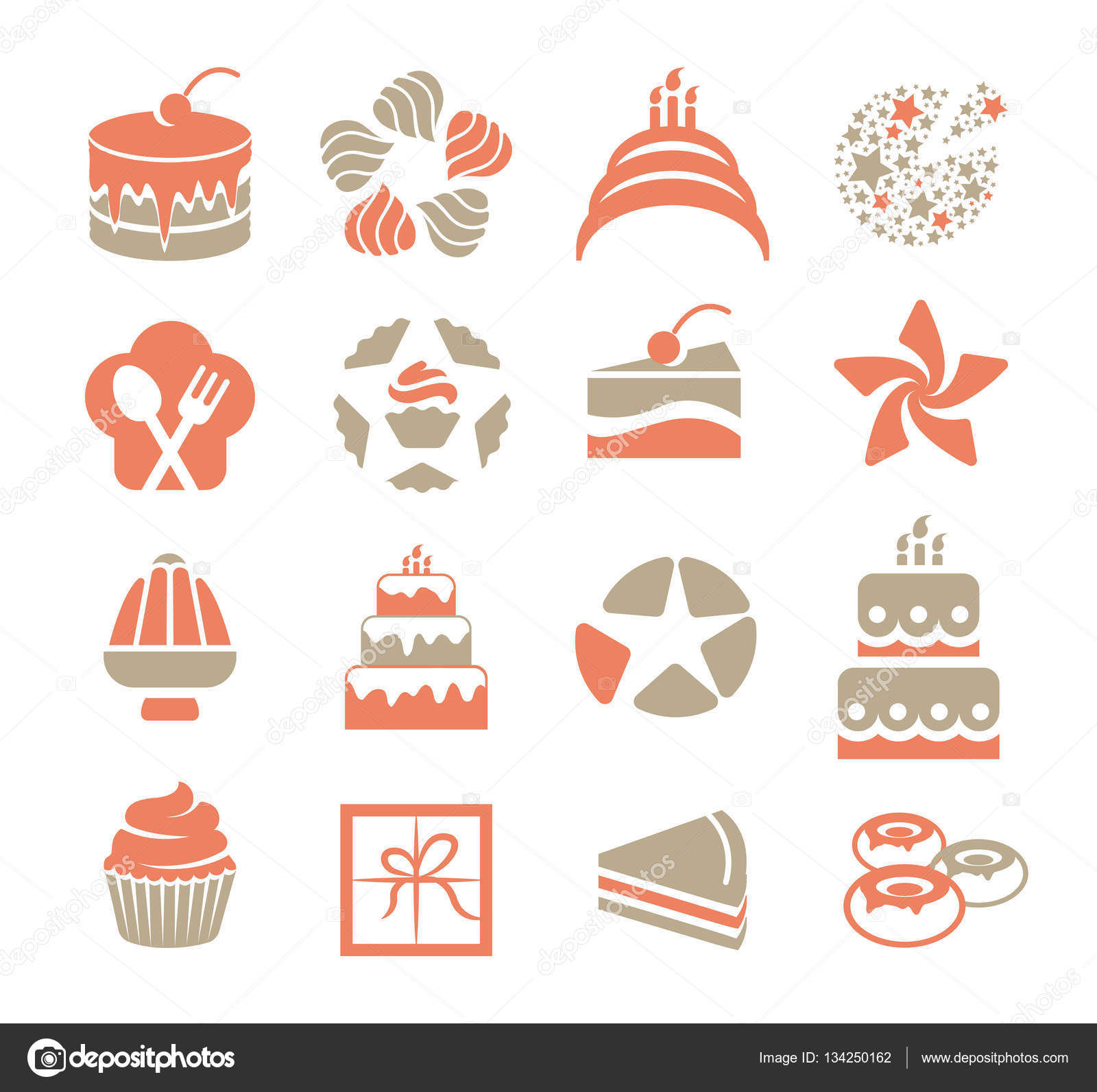 Cakes Logo Set In Vintage Style Pink And Grey Color