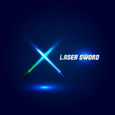 Isolated cossed light swords logo. Futuristic movie weapon logotype. Sabre with fire force icon. Lightsaber signs. Scifi shiny neon longsword vector illustration.