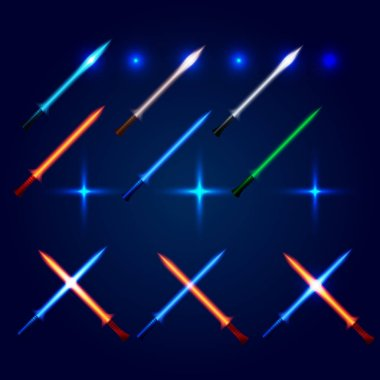 Isolated blue and red color cossed light swords logo set. Futuristic movie weapon logotype. Sabre with fire force icon. Lightsaber signs collection. Scifi shiny neon longsword vector illustration.