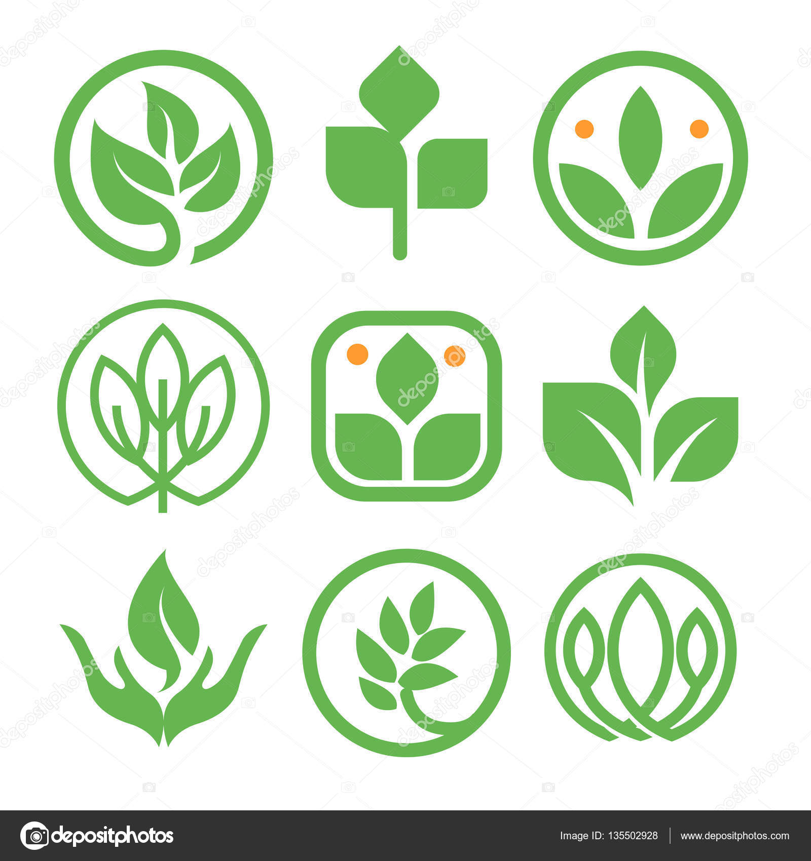 Isolated abstract green color logo collection round shape nature round shape nature element logotype set leaf in human hand icon agricultural organic products signs healing herbs vector illustration vector by artyway buycottarizona Image collections