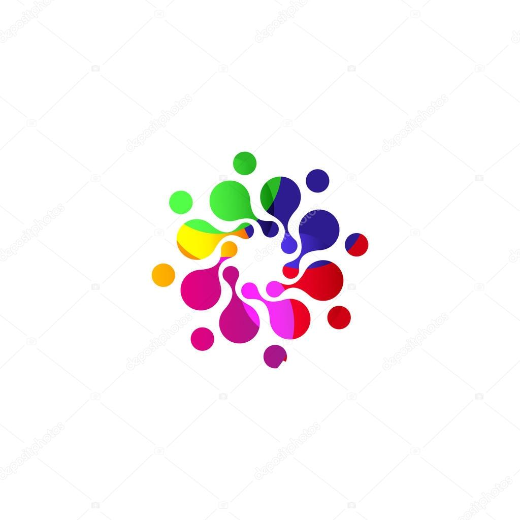 Digital colorful isolated circle logo template. Stylized abstract snowflake, flower or sun vector illustration. Polka dots round sign.