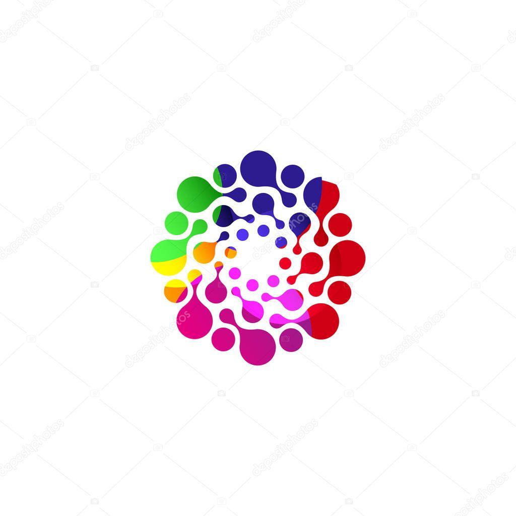 Modello di marchio digitale colorato cerchio isolato - Modello di base del fiore ...